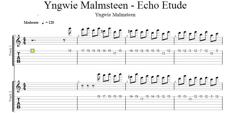 Yngwie Malmsteen - Echo Etude - tabulatura chitara
